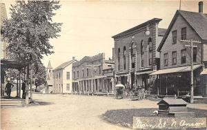 North Anson ME Main Street Store Fronts Horse & Wagons RPPC Postcard