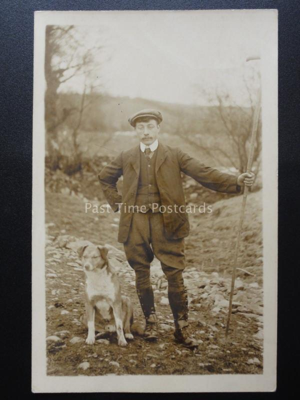Portrait of A SHEPHERD HOLDING A CROOK & HIS DOG c1905 Old RP Postcard