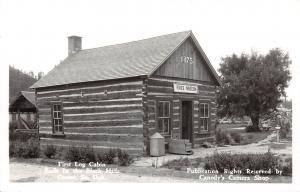 D72/ Custer South Dakota SD Postcard Real Photo RPPC c40s Log Cabin Museum 1875