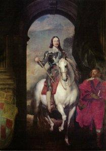 Postcard, King Charles I 1st portrait at Warwick Castle, Warwickshire 97Y