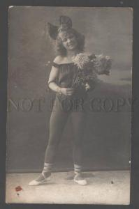 104577 Cute BALLET Star DANCER w/ Huge BOW Vintage REAL PHOTO