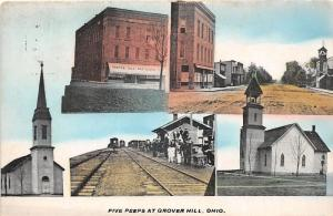 F6/ Grover Hill Ohio Postcard c1910 Five Peeps View Store Railroad Depot