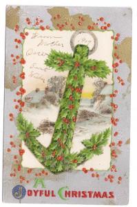 Holly Anchor Holly Anchor Glitter Vintage Christmas Postcard Winsch Back
