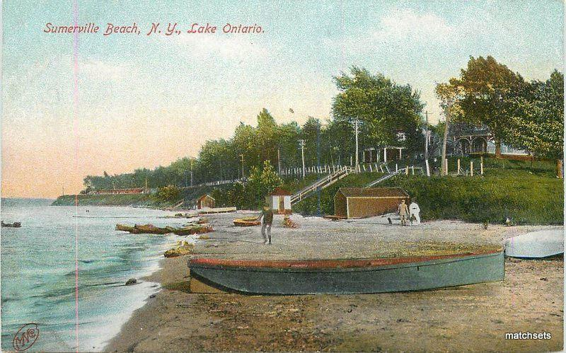 C-1910 SUMMERVILLE BEACH NEW YORK Lake Ontario Robbins postcard 12088