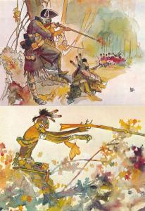 (6 cards) Italian Comic Book Artist Hugo Pratt Western Themed Prints on Postcard