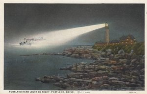 PORTLAND , Maine , 1910s ; LIGHTHOUSE at night