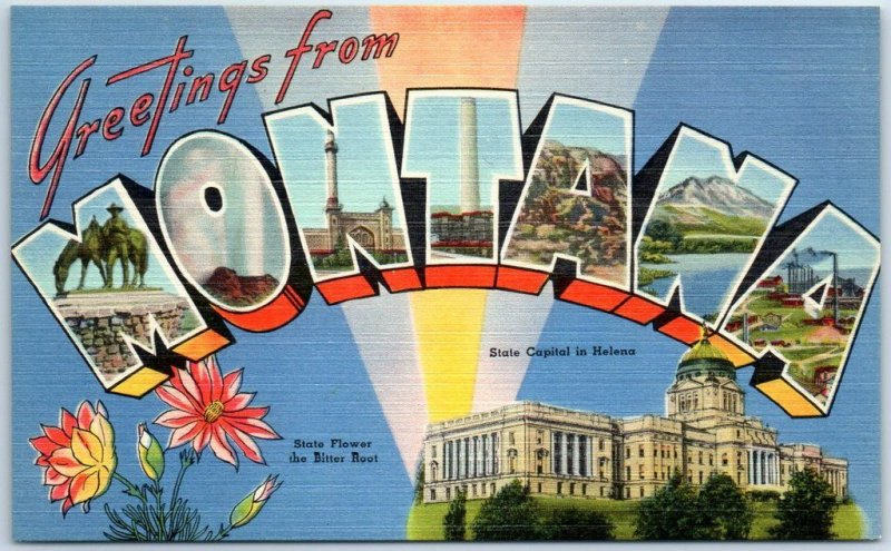 MONTANA Large Letter Postcard w/ State Capitol & Flower - Tichnor Linen c1940s