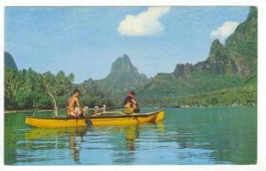 Man & woman in canoe, Cook's bay. Tahiti 50-60s