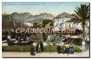 Old Postcard Menton public garden and casino