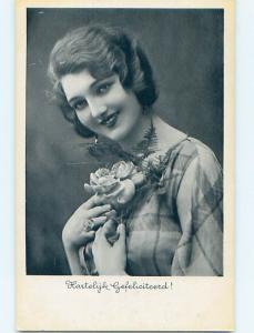 1936 foreign PRETTY DUTCH FLAPPER GIRL HOLDING FLOWERS o9494