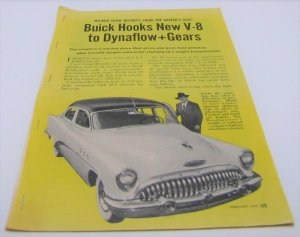 Buick Hooks New V-8 to Dynaflow + Gears Vintage 1953 Magazine Article