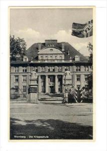 Bromberg (Bydogoszcz) - Die Kriegsschule, NAZI flag, Germany, Now Poland, PU-...