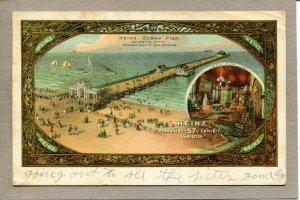 Postcard NJ Atlantic City Heinz 57 Ocean Pier Sailboats Beach View c1901  307-A