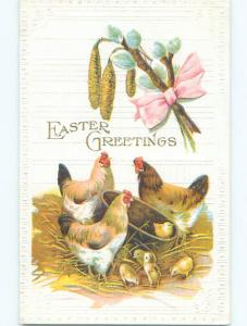 Pre-Linen easter CHICKS WITH WOODEN BASKET AND PUSSYWILLOW k2310