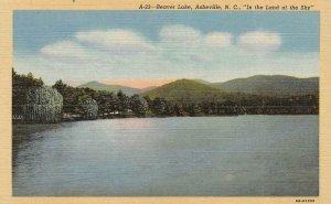 ASHEVILLE, NC North Carolina  BEAVER LAKE SCENE   c1940's Linen Postcard