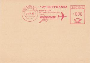 LUFTHANSA Nonstop Frankfurt-Chicago Boeing Intercontinental Flight postcard , 19