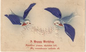 Doves carrying a flowers garland Nice vintage American Greetings postcard