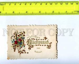 206982 Congratulations to WEDDING Vintage SILK Greeting Card