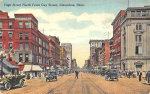Columbus OH High Street Storefronts Trolley Tracks Old Cars Postcard