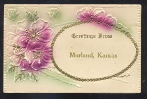 GREETINGS FROM MORLAND KANSAS HC FLOWERS ANTIQUE VINTAGE POSTCARD