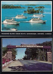 Ganagoque Thousand Island Cruise Boats Entrance Sign 2x Postcard s