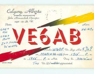 1956 Vintage Qsl Ham Radio Card In Calgary Alberta AB Canada t1679