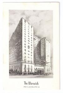 The Warwick Hotel Philadelphia PA Steelograph Ad Postcard