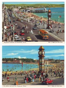 P1327 2 dif vintage postcard unused bandstand arch beach weymouth dorset england