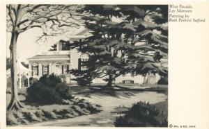 West Facade Lee Mansion Paintings By Ruth Perkins Safford Vintage Postcard D21