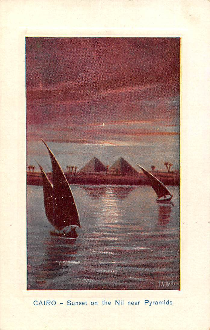Egypt Cairo Sunset on the Nil near Pyramids / HipPostcard