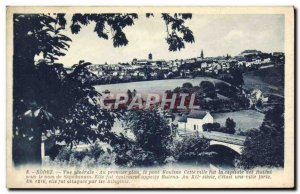 Old Postcard Rodez General view In the foreground the bridge Mouline