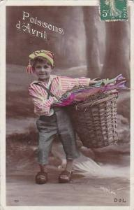 1er Avril April Fool's Day Young Boy With Basket Of Fish