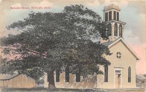 Duplain Michigan~Methodist Church~Spreading Tree~Barn~1910 Handcolored Postcard