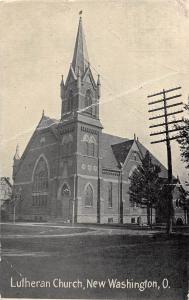 Ohio Postcard c1910 NEW WASHINGTON Lutheran Church Building