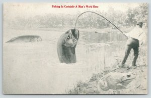 Perry NYk~Exaggerated Fish AND Frog~Fishing is Man's Work at Silver Lake*~1914