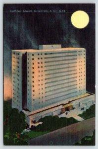 Greenville South Carolina~Calhoun Towers Apartment Hotel @ Night~Full Moon~1940s