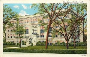 Carthage MO~Partly Cloudy on a Spring Day @ High School~Nice Arch Door~1930 pc