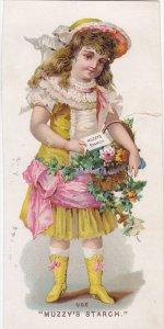 TC: Muzzy's Corn Starch, Girl Holding A Basket Full Of Flowers, Muzzy Starc...