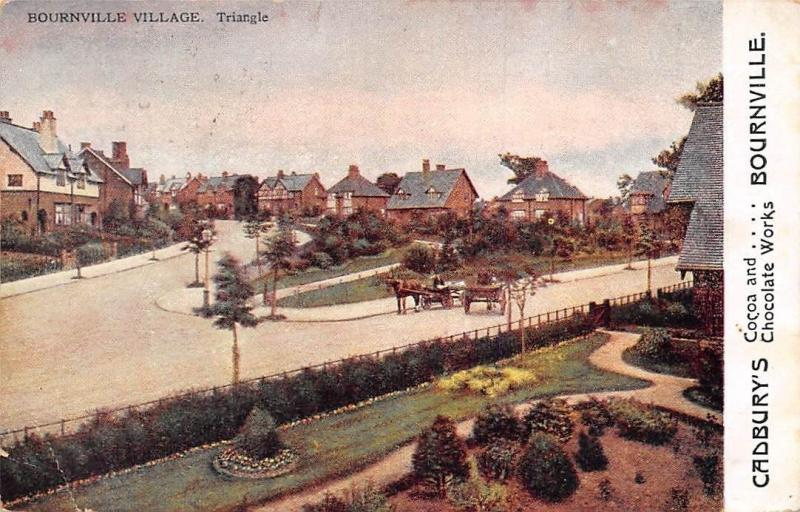 Bournville Village, Triangle, Horses Carriages, Cadbury, Cocoa Chocolate 1906