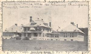 Montpelier Vermont~Heaton Hospital~Pub by Buswell's Bookstore~1906 B&W Postcard