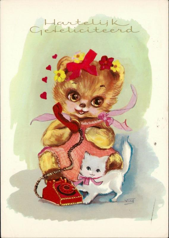 little cute lady bear telephone cat illustration artist signed Veny