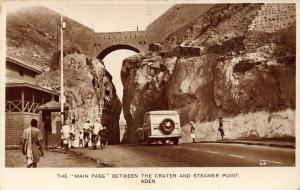 Yemen The Main Pass Between the Crater and Streamer Point Aden Postcard