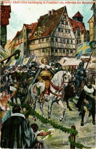 CPA AK Frankfurt a.m.- Gustav Adolf reitet barhauptig GERMANY (1027043)