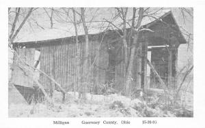F26/ Guernsey County Milligan Ohio Postcard c1950s Covered Bridge 24