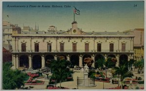 Old Vintage Linen Era Postcard City Hall and Armas Plaza Havana, Habana, Cuba