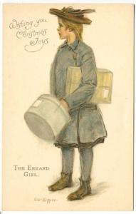 Christmas Joys The Errand Girl Signed L. J. Kipper  Ernest Nister Postcard