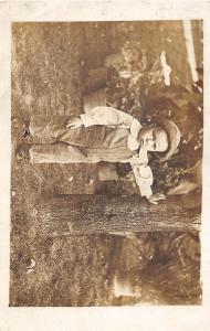 F37/ Interesting Real Photo RPPC Postcard c1910 Boy Overalls Tree 5
