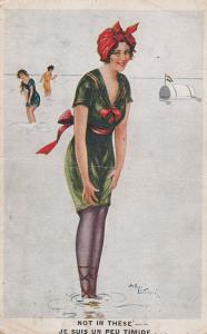 I'm Not Swimming In Stockings Antique Ladies Old French Comic Postcard
