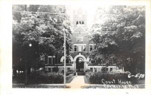 Centreville Michigan~St. Joseph County Court House~Lady on Walkway~1950s RPPC