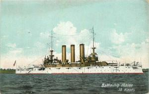 Battleship Maine Navy Military Greet White Fleet C-1910 Postcard Leighton 3322